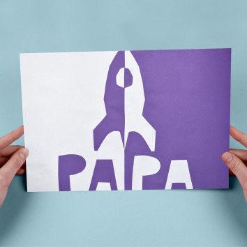 Klappschnittkarte mit Rakete zum Vatertag