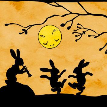 Detail mit drei tanzenden Hasen