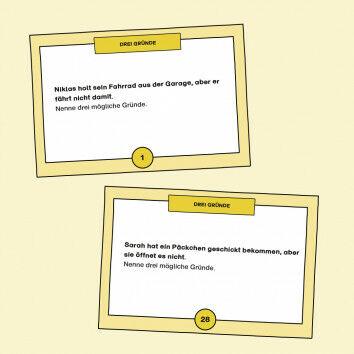 Aufgabenkarten zum Ausdenken von kreativen Erklärungen