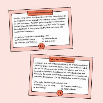Aufgabenkarten zum Erkennen von Textstrukturen und Tätigkeiten