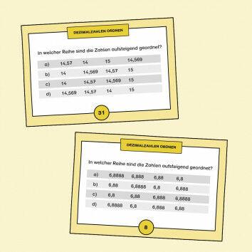 Aufgabenkarten zum Ordnen von Dezimalzahlen