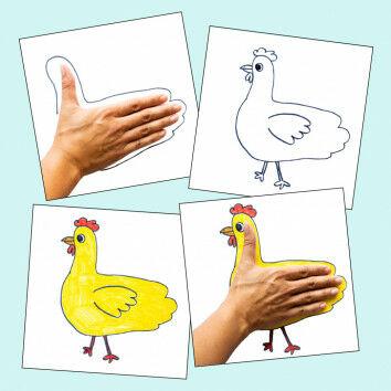 Hand-Tiere zeichnen mit der Hand als Schablone