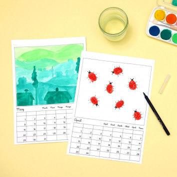 Malkalender zum Selbergestalten z.B. mit Fingerprints & Farbperspetive-Malvorlagen