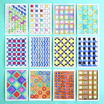 Postkarten mit tollen Mustern zum Ausmalen