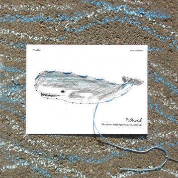 Stickkarte Pottwal zum Bemalen und Sticken