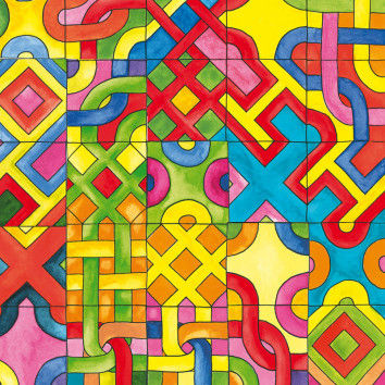 Mosaik aus Labyrinth-Karten zum Malen & Legen