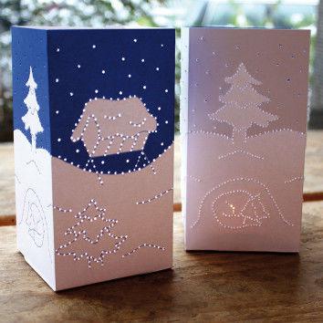 Winterlichter mit gedruckten Motiven zum Pricken