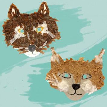 Schnipselige Tiermasken