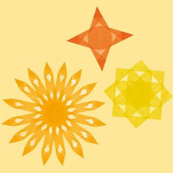 Transparentpapierstreifen in Gelb und Orange zum Falten von Fenstersternen