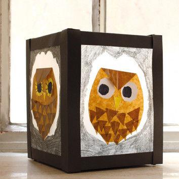 Karton-Laterne mit Eule aus Transparentpapier-Schnipseln