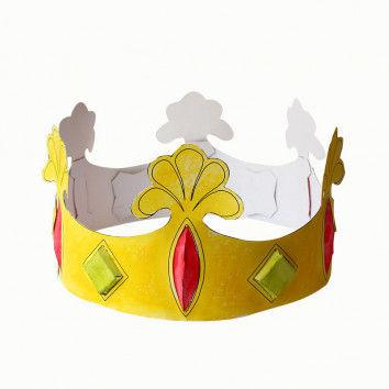 Krone aus weißem Karton zum Basteln für Kinder