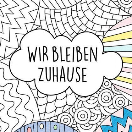 Motivationskarten Zum Ausmalen - Stay Home + Wir Bleiben Zuhause