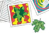 Op-Art Karten mit Herbstblättern